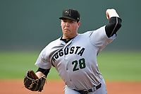 Starting pitcher John Gavin (28) of the Augusta GreenJackets delivers a pitch in a game against the Greenville Drive on Wednesday, April 25, 2018, at Fluor Field at the West End in Greenville, South Carolina. Augusta won, 9-2. (Tom Priddy/Four Seam Images)