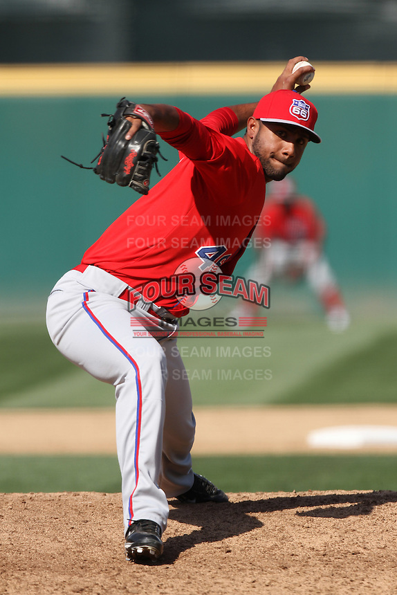 Fabio Martinez #45 of the Inland Empire 66'ers pitches against the Rancho Cucamonga Quakes at The Epicenter on April 8, 2012 in Rancho Cucamonga,California. Inland Empire defeated Rancho Cucamonga 7-1.(Larry Goren/Four Seam Images)