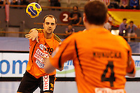 25.03.2012 MADRID, SPAIN -  EHF Champions League match played between BM At. Madrid vs Kadetten Schaffhausen (26-30) at Palacio Vistalegre stadium. the picture show Uros Elezovic (Kadetten Schaffhausen player)