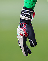 Goalkeeper Jamal Blackman of Wycombe Wanderers Peak Goalkeeping glove displaying his surname before the Sky Bet League 2 match between Barnet and Wycombe Wanderers at The Hive, London, England on 17 April 2017. Photo by Andy Rowland.
