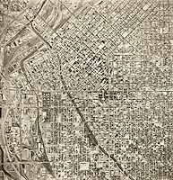 historical aerial photograph Denver, Colorado, 1964