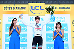 Soren Kragh Anderson (DEN) Team Sunweb retains the young riders White Jersey on the podium at the end of Stage 6 of the 2018 Tour de France running 181km from Brest to Mur-de-Bretagne Guerledan, France. 12th July 2018. <br /> Picture: ASO/Alex Broadway | Cyclefile<br /> All photos usage must carry mandatory copyright credit (© Cyclefile | ASO/Alex Broadway)