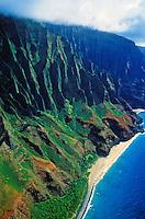 Aerial view of the cliffs of Kauai's Na Pali coastline
