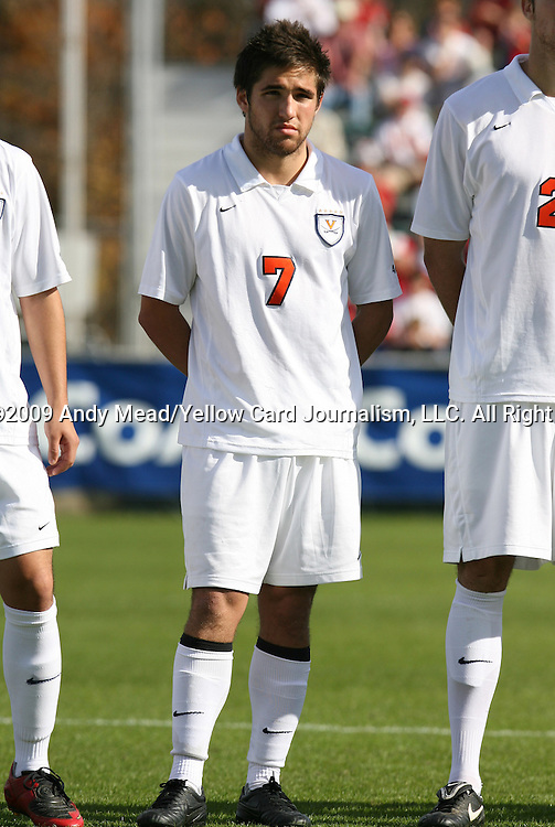 15 November 2009: Virginia's Neil Barlow. The University of Virginia Cavaliers defeated the North Carolina State University Wolfpack at WakeMed Stadium in Cary, North Carolina in the Atlantic Coast Conference Men's Soccer Tournament Championship game.