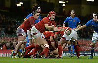 Wales Carys Philips  whips the ball out <br /> <br /> Photographer Ian Cook/CameraSport<br /> <br /> 2018 Women's Six Nations Championships Round 4 - Wales Women v Italy Women - Sunday 11th March 2018 - Principality Stadium - Cardiff<br /> <br /> World Copyright &copy; 2018 CameraSport. All rights reserved. 43 Linden Ave. Countesthorpe. Leicester. England. LE8 5PG - Tel: +44 (0) 116 277 4147 - admin@camerasport.com - www.camerasport.com