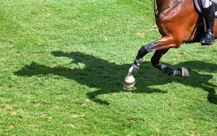 Shadow of horse and rider at Spruce Meadows in Calgary, Alberta, Canada