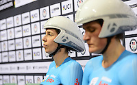 Picture by Simon Wilkinson/SWpix.com - 02/03/2017 - Cycling 2017 UCI Para-Cycling Track World Championships, Los Angeles USA -  BELGIUM<br /> HOET Griet<br /> MONSIEUR Anneleen branding