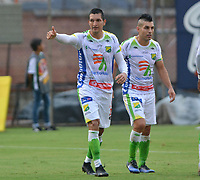 ENVIGADO- COLOMBIA, 14-04-2019.Michael Ordonez jugador del Atlético Huila celebra despuésde anotar un gol al Envigado  durante partido por la fecha 15 de la Liga Águila I 2019 jugado en el estadio Polideportivo Sur de la ciudad de Medellín. /Michael Ordonez player Atletico Huila celebrates after scoring a goal agaisnt of Envigado  during the match for the date 15 of the Liga Aguila I 2019 played at Polideportivo Sur stadium in Medellin  city. Photo: VizzorImage / Leon Monsalve/ Contribuidor
