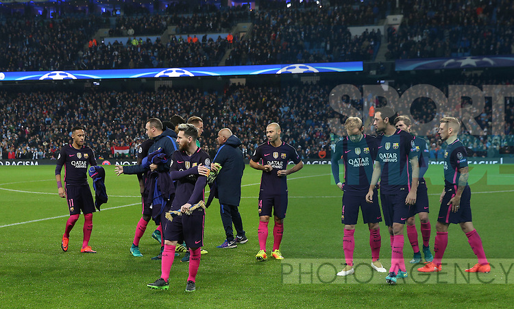 Lionel Messi of Barcelona leads the players to a team picture during the Champions League Group C match at the Etihad Stadium, Manchester. Picture date: November 1st, 2016. Pic Simon Bellis/Sportimage