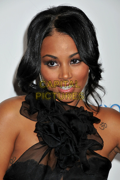 "LAUREN LONDON.""Cadillac Records"" Los Angeles Premiere at Grauman's Egyptian Theatre, Hollywood, California, USA..November 24th, 2008.headshot portrait tattoo black sheer chiffon halterneck ruffled ruffles.CAP/ADM/BP.©Byron Purvis/AdMedia/Capital Pictures."