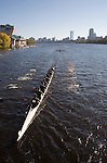 Pocock Rowing Center; Senior-Master Eights Men [50+]; 2006 Head of the Charles Regatta; Master's rowers Boston; Boston skyline; Boston skyline from the Charles River; Rowers, 2006 Head of the Charles Regatta, Cambridge, Boston, Massachusetts, USA. October 21, 2006