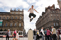 "Parkour, also known as Urban Freeflow, is a physical art form which utilizes the urban environment to gracefully jump, climb, or leap around obstacles and buildings. Ever since he saw an instructional Parkour video three years ago, Stuart ""Speedy"" Andrews, a resident of Edinburgh, Scotland, has been practicing the urban art form."