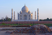 Archeological diggings with view from the Yamuna River Taj Mahal, Agra India