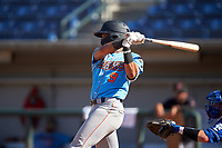 Inland Empire 66ers Jordyn Adams (9) hits his first California League home run during a game against the Rancho Cucamonga Quakes at LoanMart Field on September 2, 2019 in Rancho Cucamonga, California. Rancho Cucamonga defeated Inland Empire 4-3. (Zachary Lucy/Four Seam Images)