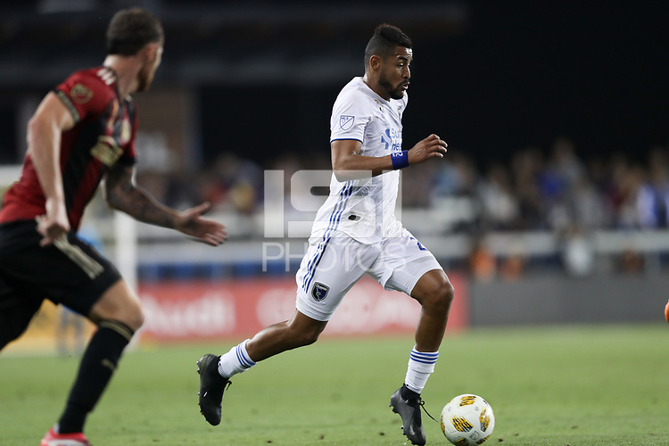 San Jose, CA - Wednesday September 19, 2018: Anibal Godoy during a Major League Soccer (MLS) match between the San Jose Earthquakes and Atlanta United FC at Avaya Stadium.