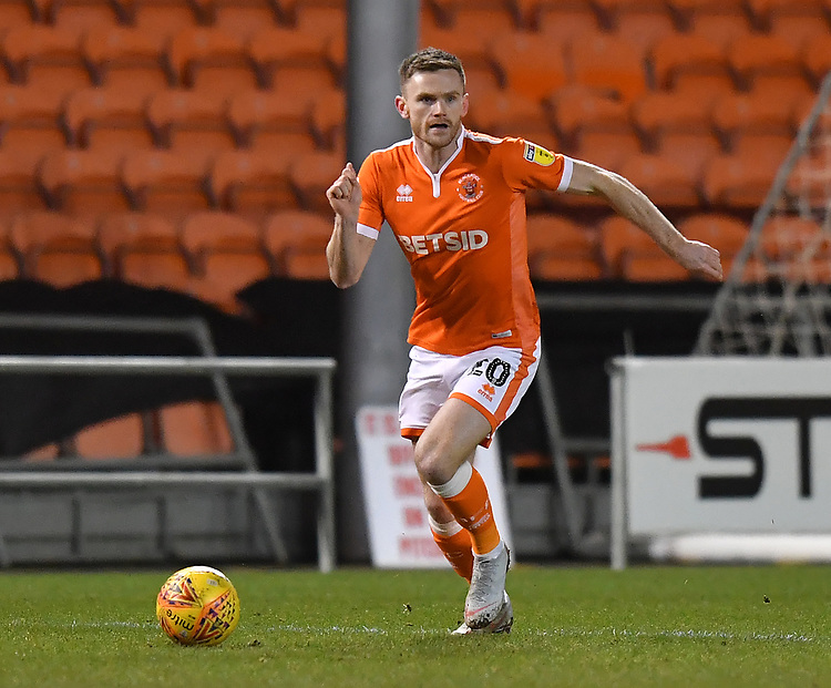 Blackpool's Oliver Turton<br /> <br /> Photographer Dave Howarth/CameraSport<br /> <br /> The EFL Sky Bet League One - Blackpool v Wycombe Wanderers - Tuesday 29th January 2019 - Bloomfield Road - Blackpool<br /> <br /> World Copyright © 2019 CameraSport. All rights reserved. 43 Linden Ave. Countesthorpe. Leicester. England. LE8 5PG - Tel: +44 (0) 116 277 4147 - admin@camerasport.com - www.camerasport.com