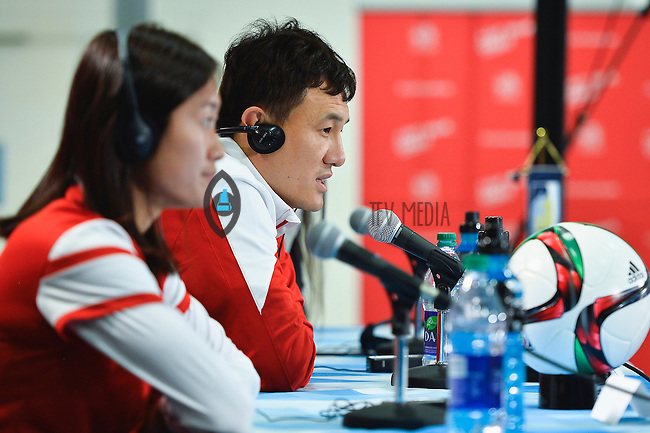 China's Head Coach speaks to the media during press conference on the eve of Women's World Cup Soccer match, Friday June 05, 2015 in Edmonton, Alberta. (Mo Khursheed/TFV Media via AP Images)
