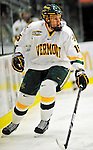 21 February 2009: University of Vermont Catamount defenseman Kevan Miller, a Sophomore from Los Angeles, CA, in action against the University of Massachusetts River Hawks at Gutterson Fieldhouse in Burlington, Vermont. The River Hawks shut out the Catamounts 1-0. Mandatory Photo Credit: Ed Wolfstein Photo