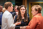 BRUSSELS - BELGIUM - 12 December 2019 -- EU-Summit with Heads of State - European Council meeting - Presidency of Finland. -- Sanna Marin (ce), Prime Minister of Finland during her first EU-Summit as PM with Angela Merkel (ri), Federal Chancellor of Germany and Mette Frederiksen, Prime Minister of Denmark. -- PHOTO: Juha ROININEN / EUP-IMAGES