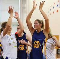 Otago's Storm Purvis celebrates winning the Lion Foundation Netball Championship match final, day five, MoreFM Arena, Dunedin, New Zealand, Friday, October 04, 2013. Credit: Dianne Manson/©MBPHOTO /Michael Bradley Photography.