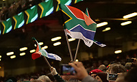 South Africa fans wave flags during the South Africa National anthem <br /> <br /> Photographer Ian Cook/CameraSport<br /> <br /> Under Armour Series Autumn Internationals - Wales v South Africa - Saturday 24th November 2018 - Principality Stadium - Cardiff<br /> <br /> World Copyright &copy; 2018 CameraSport. All rights reserved. 43 Linden Ave. Countesthorpe. Leicester. England. LE8 5PG - Tel: +44 (0) 116 277 4147 - admin@camerasport.com - www.camerasport.com