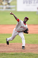 Auburn Doubledays pitcher Deion Williams (20) delivers a pitch during a game against the Batavia Muckdogs on June 16, 2014 at Dwyer Stadium in Batavia, New York.  Batavia defeated Auburn 4-3.  (Mike Janes/Four Seam Images)