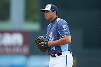 West Michigan Whitecaps first baseman Reynaldo Rivera (14) on defense against the South Bend Cubs at Fifth Third Ballpark on June 10, 2018 in Comstock Park, Michigan. The Cubs defeated the Whitecaps 5-4.  (Brian Westerholt/Four Seam Images)