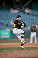 Salt Lake Bees starting pitcher Jose Suarez (17) delivers a pitch to the plate against the Reno Aces at Smith's Ballpark on June 26, 2019 in Salt Lake City, Utah. The Aces defeated the Bees 6-4. (Stephen Smith/Four Seam Images)