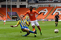 Blackpool's Nathan Delfounso is tackled by Accrington Stanley's Harvey Rodgers<br /> <br /> Photographer Terry Donnelly/CameraSport<br /> <br /> The EFL Sky Bet League Two - Blackpool v Accrington Stanley - Friday 14th April 2017 - Bloomfield Road - Blackpool<br /> <br /> World Copyright &copy; 2017 CameraSport. All rights reserved. 43 Linden Ave. Countesthorpe. Leicester. England. LE8 5PG - Tel: +44 (0) 116 277 4147 - admin@camerasport.com - www.camerasport.com