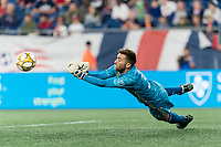 FOXBOROUGH, MA - AUGUST 31: Matt Turner #30 of New England Revolution makes a save during a game between Toronto FC and New England Revolution at Gillette Stadium on August 31, 2019 in Foxborough, Massachusetts.