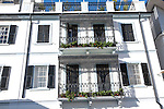Ornate iron balconies in traditional historic building, Gibraltar, British terroritory in southern Europe