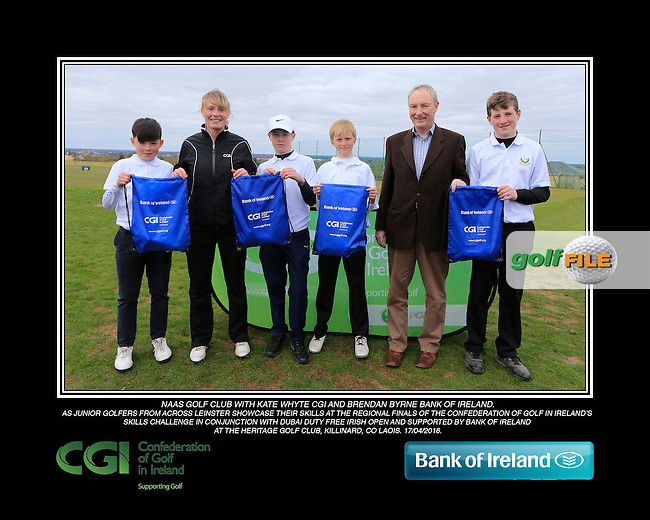 Naas Golf Club boys With Kate Wright CGI and Brendan Byrne Bank of Ireland.<br /> Junior golfers from across Leinster practicing their skills at the regional finals of the Dubai Duty Free Irish Open Skills Challenge supported by Bank of Ireland at the Heritage Golf Club, Killinard, Co Laois. 2/04/2016.<br /> Picture: Golffile | Fran Caffrey<br /> <br /> <br /> All photo usage must carry mandatory copyright credit (&copy; Golffile | Fran Caffrey)