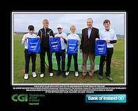 Naas Golf Club boys With Kate Wright CGI and Brendan Byrne Bank of Ireland.<br /> Junior golfers from across Leinster practicing their skills at the regional finals of the Dubai Duty Free Irish Open Skills Challenge supported by Bank of Ireland at the Heritage Golf Club, Killinard, Co Laois. 2/04/2016.<br /> Picture: Golffile | Fran Caffrey<br /> <br /> <br /> All photo usage must carry mandatory copyright credit (© Golffile | Fran Caffrey)