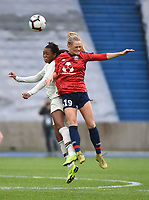 20190113 - LILLE , FRANCE : LOSC's Danielle Tolmais (R) and PSG's Grace Geyoro (L) pictured during women soccer game between the women teams of Lille OSC and Paris Saint Germain  during the 16 th matchday for the Championship D1 Feminines at stade Lille Metropole , Sunday 13th of January 2019,  PHOTO Dirk Vuylsteke | Sportpix.Be