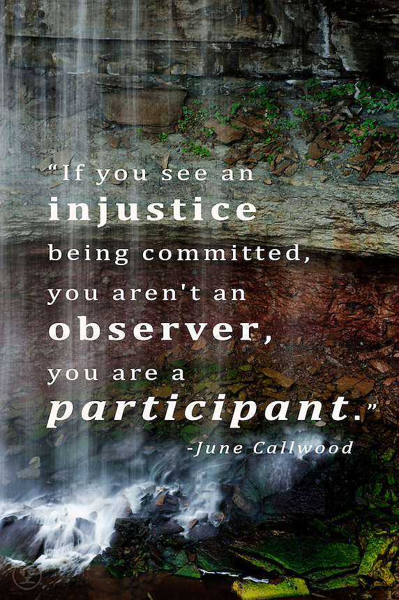&ldquo;If you see an injustice being committed, you aren't an observer, you are a participant.&quot;<br />