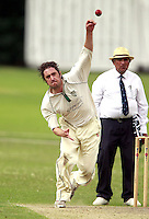 Tom Wakeford bowls for North London during the Middlesex County Cricket League Division Three game between Highgate and North London at Park Road, Crouch End on Sat July 12, 2014