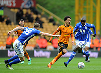 Wolverhampton Wanderers' Helder Costa battles with Birmingham City's Cheick Ndoye<br /> <br /> Photographer Ashley Crowden/CameraSport<br /> <br /> The EFL Sky Bet Championship - Wolverhampton Wanderers v Birmingham City - Sunday 15th April 2018 - Molineux - Wolverhampton<br /> <br /> World Copyright &copy; 2018 CameraSport. All rights reserved. 43 Linden Ave. Countesthorpe. Leicester. England. LE8 5PG - Tel: +44 (0) 116 277 4147 - admin@camerasport.com - www.camerasport.com
