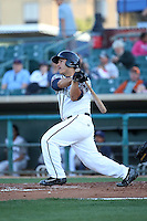 Christian Correa (1) of the Lancaster JetHawks bats against the Inland Empire 66ers at The Hanger on September 3, 2016 in Lancaster, California. Lancaster defeated Inland Empire, 7-6. (Larry Goren/Four Seam Images)