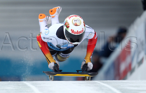 06.03.2015. Winterberg, Germany.  Skeleton racer Jacqueline Loelling of Germay in action during the women's skeleton competition at the Bob & Skeleton World Championships 2015 in Winterberg, Germany, 6th March.