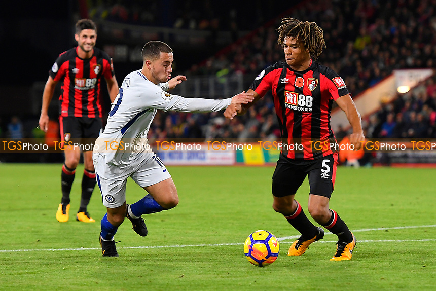 Eden Hazard of Chelsea is held up by Nathan Ake of AFC Bournemouth during AFC Bournemouth vs Chelsea, Premier League Football at the Vitality Stadium on 28th October 2017