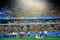 Two team group,<br /> JUNE 28, 2014 - Football / Soccer :<br /> Brazil team group celebrate after winning the penalty shoot out as Chile team group look dejected during the FIFA World Cup Brazil 2014 Round of 16 match between Brazil 1(3-2)1 Chile at Estadio Mineirao in Belo Horizonte, Brazil. (Photo by D.Nakashima/AFLO)