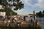 Richmond Upon Thames, Surrey, England 2007. Tourists enjoying a drink Riverside, Richmond bridge.