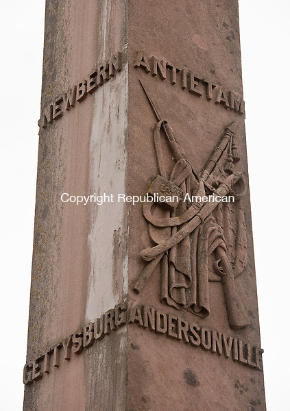 BRISTOL ,  CT,  CT-041115JS57- Battles from Newbern, Antietam, Gettysburg and Andersonville, are among those listed on the Soldiers' Monument in West Cemetery in Bristol.<br /> Jim Shannon Republican-American