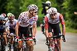 Polka Dot Jersey Tim Wellens  and team mate Thomas De Gendt (BEL) Lotto-Soudal in the breakaway during Stage 6 of the 2019 Tour de France running 160.5km from Mulhouse to La Planche des Belles Filles, France. 11th July 2019.<br /> Picture: ASO/Pauline Ballet | Cyclefile<br /> All photos usage must carry mandatory copyright credit (© Cyclefile | ASO/Pauline Ballet)
