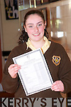 Aoife Moloney, Knockane, Listowel who got 11 A's in her junior Cert,