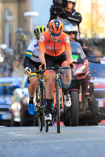 Anna Van Der Breggan (NED) and Amanda Spratt (AUS) on the second circuit of Harrogate during the Women Elite Road Race of the UCI World Championships 2019 running 149.4km from Bradford to Harrogate, England. 28th September 2019.<br /> Picture: Eoin Clarke | Cyclefile<br /> <br /> All photos usage must carry mandatory copyright credit (© Cyclefile | Eoin Clarke)