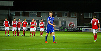 Fleetwood Town's Eddie Clarke walks back to his teammates after missing a penalty<br /> <br /> Photographer Alex Dodd/CameraSport<br /> <br /> The EFL Checkatrade Trophy - Northern Group B - Fleetwood Town v Leicester City U21 - Tuesday September 11th 2018 - Highbury Stadium - Fleetwood<br />  <br /> World Copyright &copy; 2018 CameraSport. All rights reserved. 43 Linden Ave. Countesthorpe. Leicester. England. LE8 5PG - Tel: +44 (0) 116 277 4147 - admin@camerasport.com - www.camerasport.com