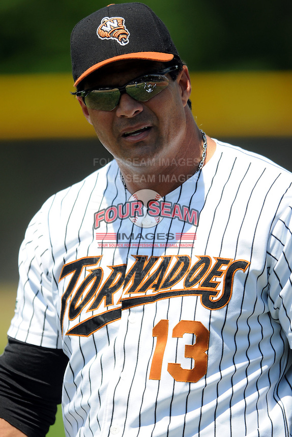 Worcester Tornadoes Designated Hitter Jose Canseco #13 prior to a game versus the New Jersey Jackals at Fitton Field in Worcester, Massachusetts on June 3, 2012.  (Ken Babbitt/Four Seam Images)