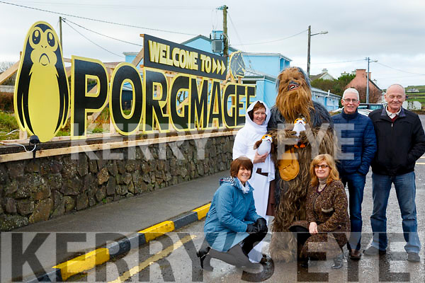 Answering the call from Rebel Alliance, Porgmagee joins in the fight to Restore the Republic pictured here front l-r; Helen Butler, Mary Lane, back l-r; Princess Leah(Oonagh Walsh), Chewbacca(Muiris Walsh), Gerard Kennedy(Chairman Portmagee Tourism Group) & John Murphy.