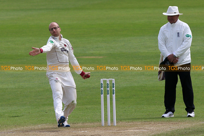 Jack Leach in bowling action for Somerset during Somerset CCC vs Essex CCC, Specsavers County Championship Division 1 Cricket at The Cooper Associates County Ground on 15th April 2017